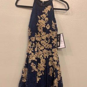 Macy's Formal Navy/Blue/Gold Lace Halter Dress 4